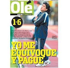 """Capa do diário Olé: """"eu me equivoquei e paguei"""""""